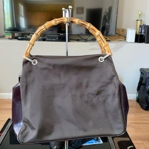 Authentic Gucci Nylon with Bamboo Handle